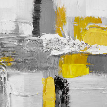 Yellow Abstract Oil Painted Canvas