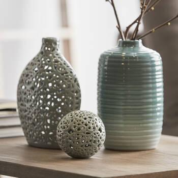 Lace Cut-Out Ceramic Table Vase