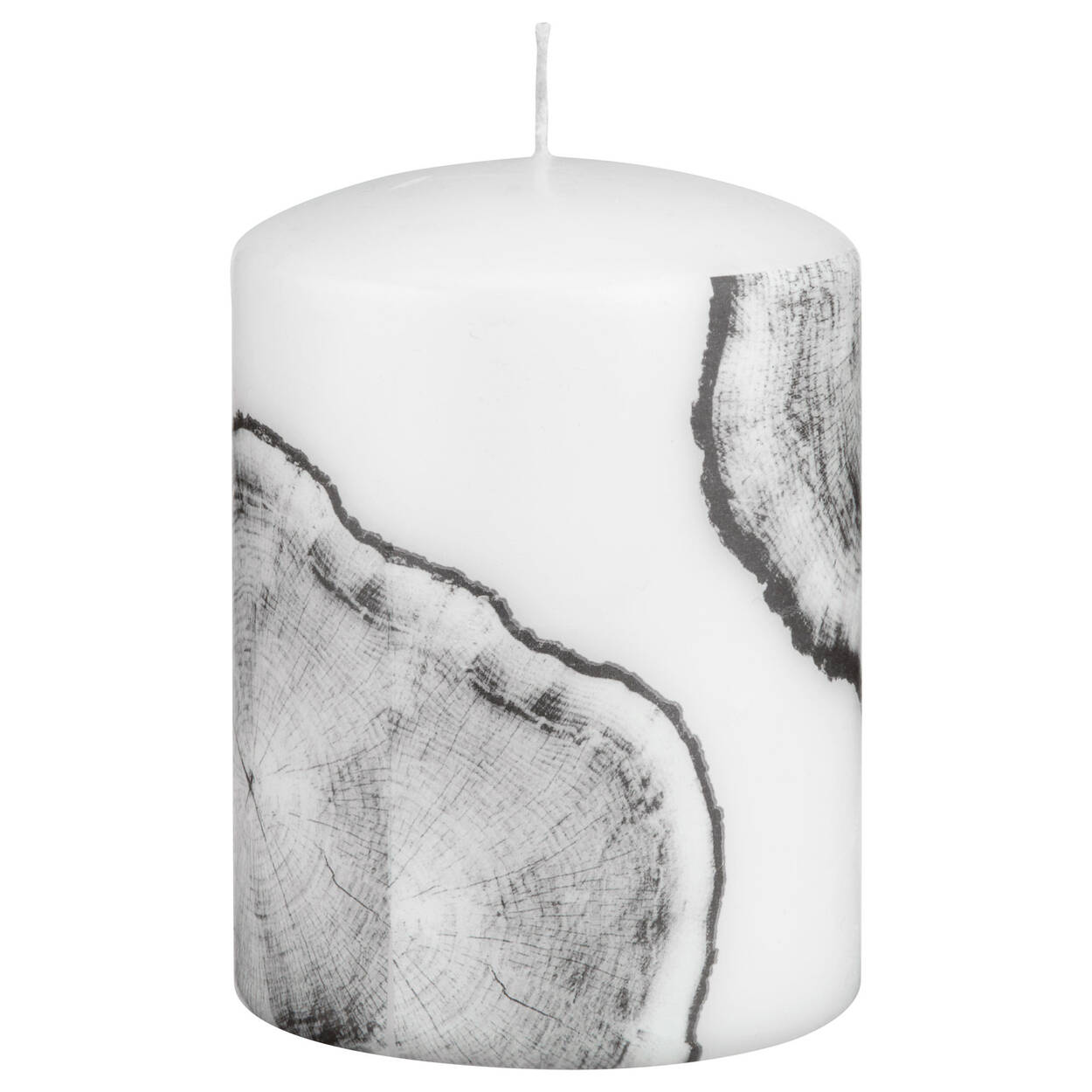 Small Wood Patterned Pillar Candle