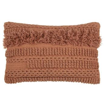 "Ellen Textured & Fringed Decorative Pillow 13"" x 20"""