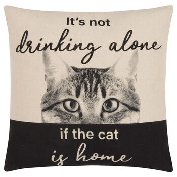 "Drinking Alone Decorative Pillow Cover 18"" X 18"""