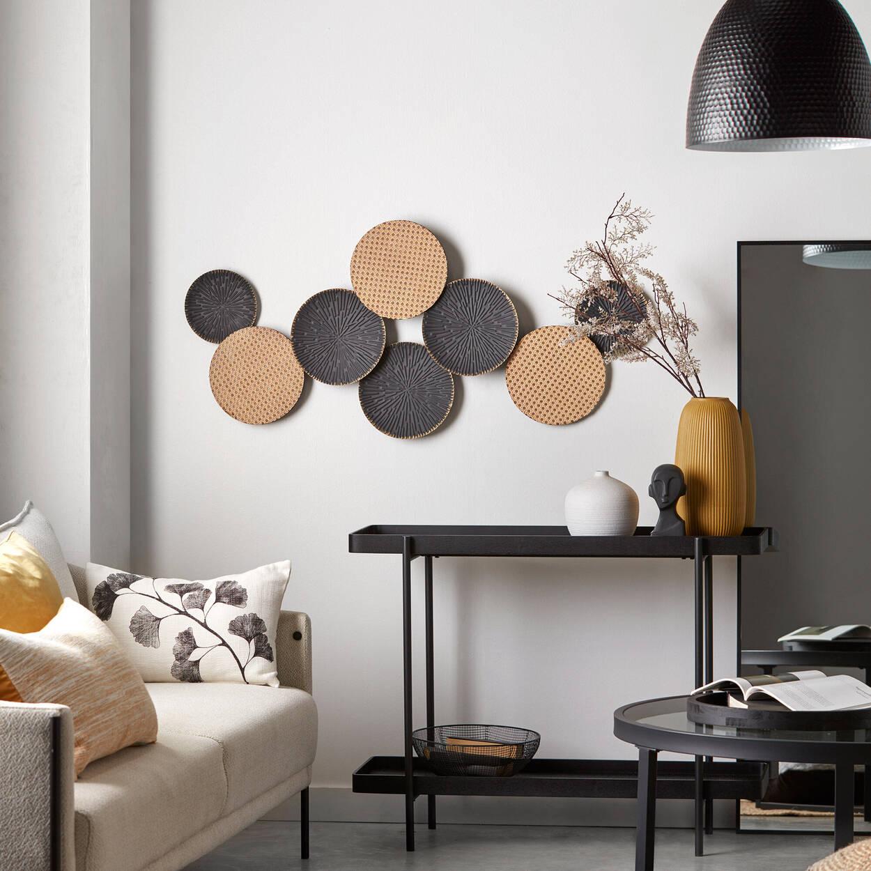 Art mural cercles en cannage métallique