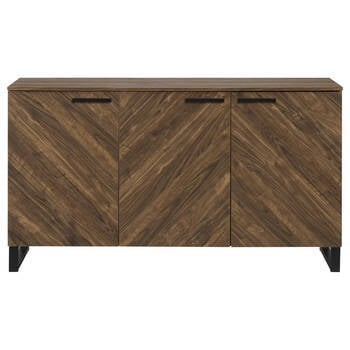 Three-Door Chevron Wood and Metal Buffet
