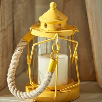 Metal Lantern Candle Holder with Rope Handle