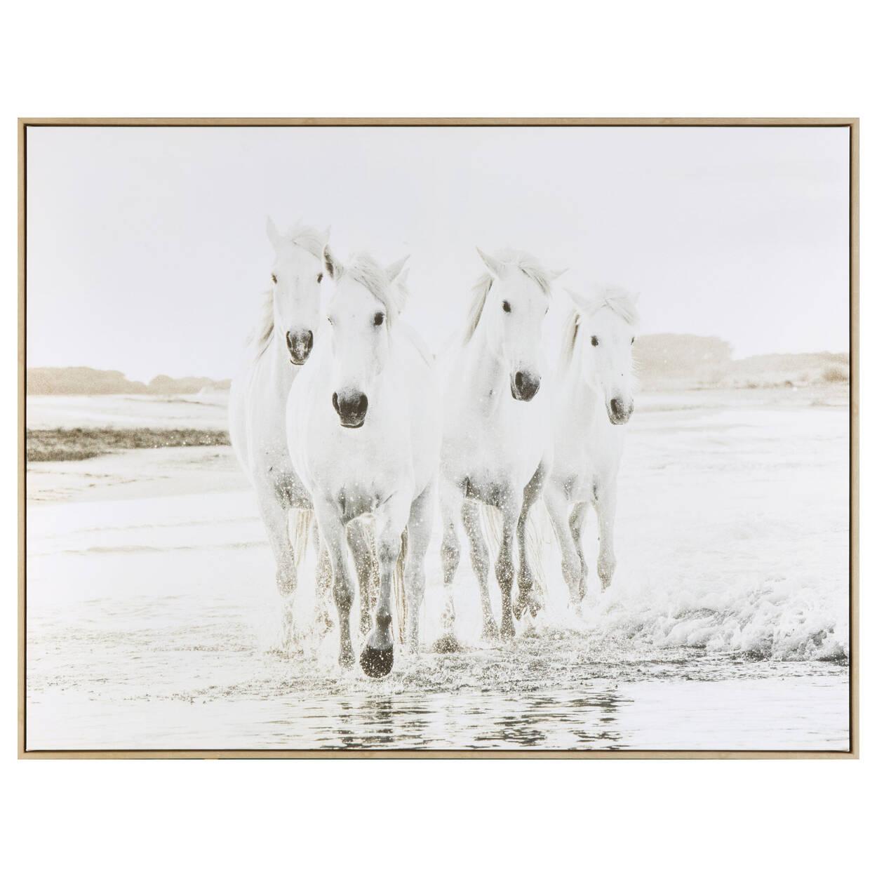 Tableau encandré de chevaux blancs