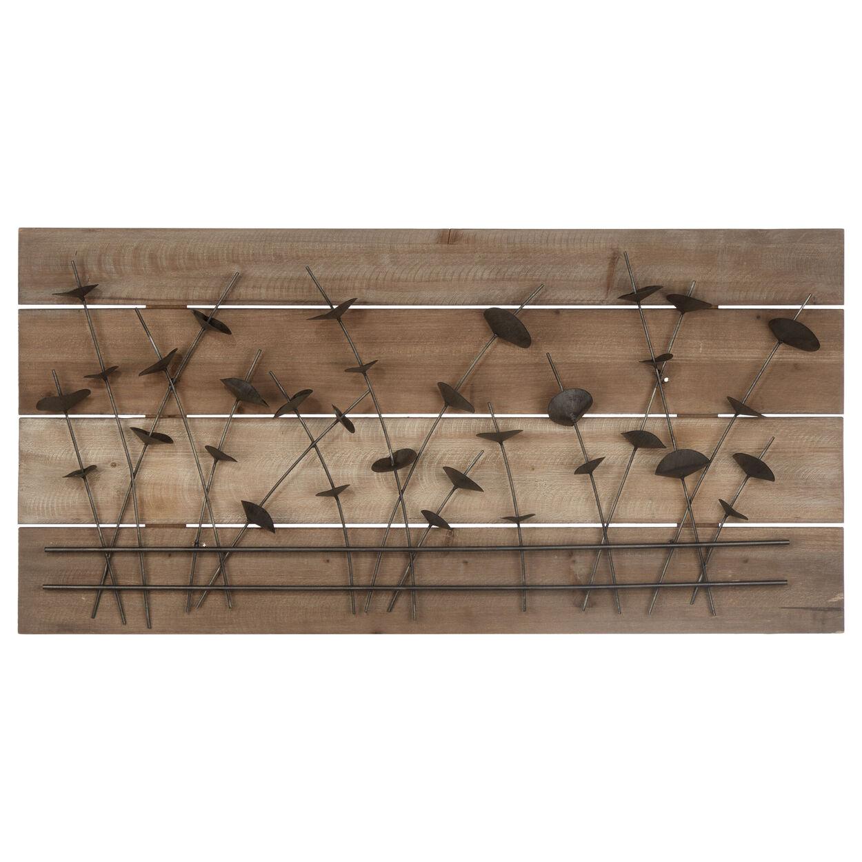 Metal petals On Wood Plank Wall Art