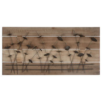 Metal petals On Wood Plank Wall Art