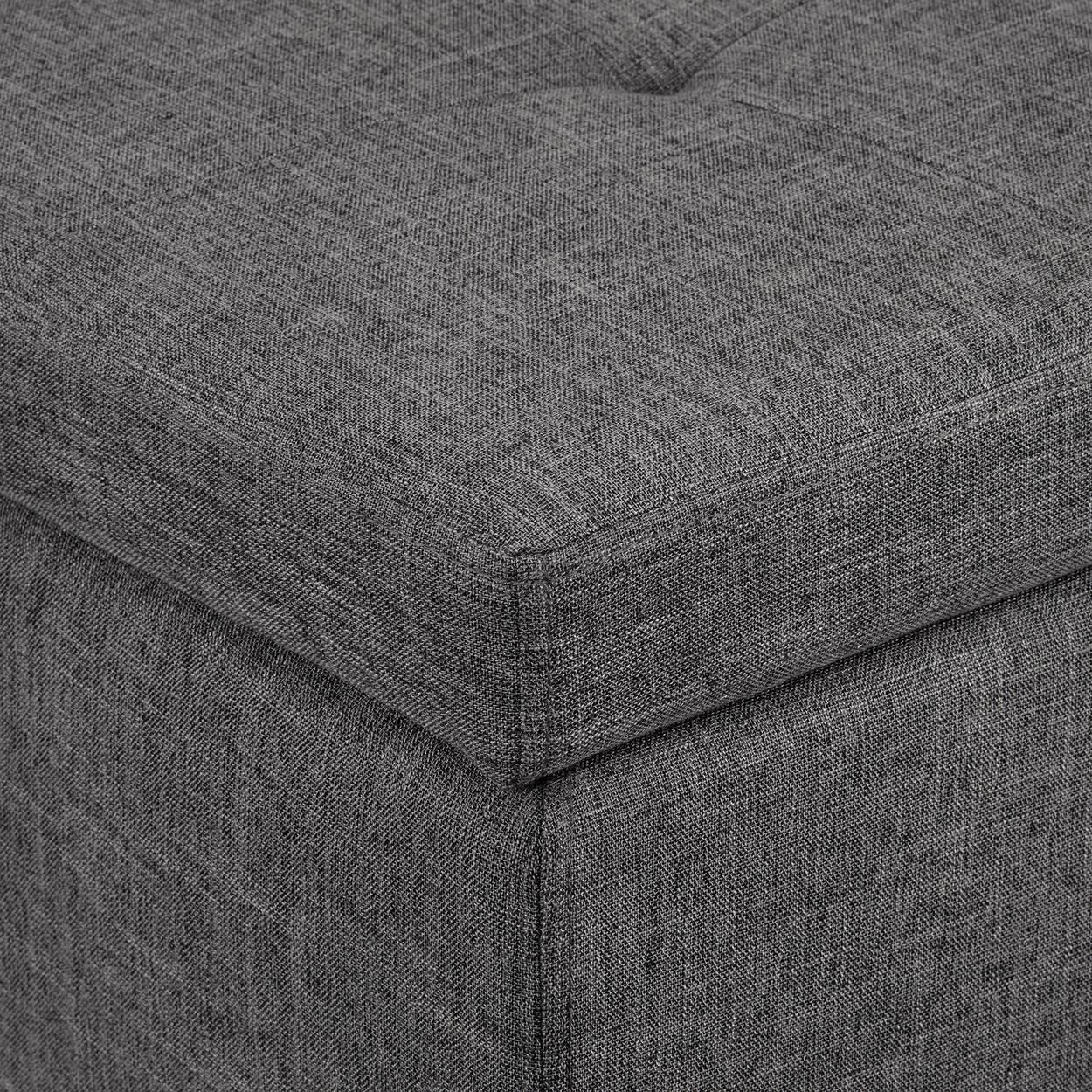 Chita Fabric and Wood Storage Ottoman