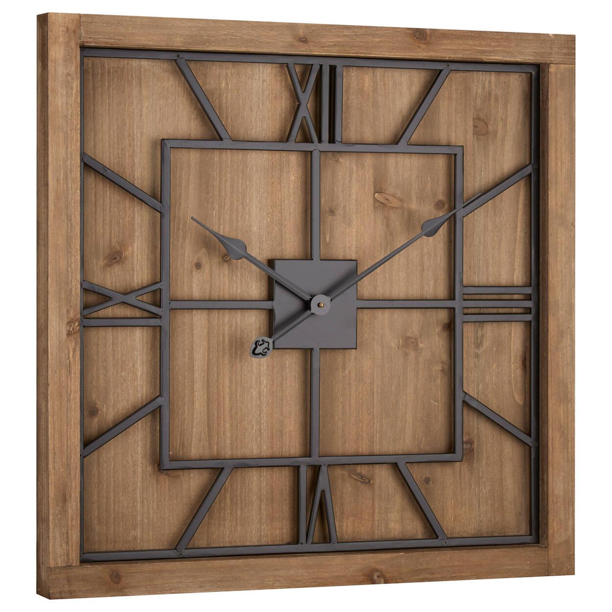 Wood and Metal Square Clock