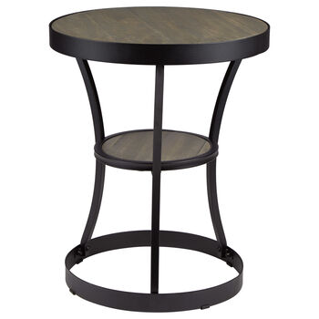 Round Pine Wood Veneer and Metal Side Table