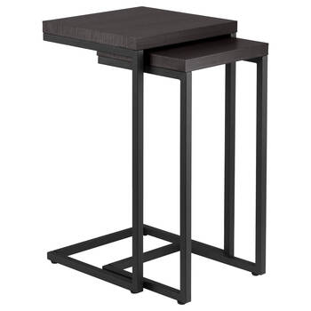 Set of 2 Veneer and Metal Side Tables