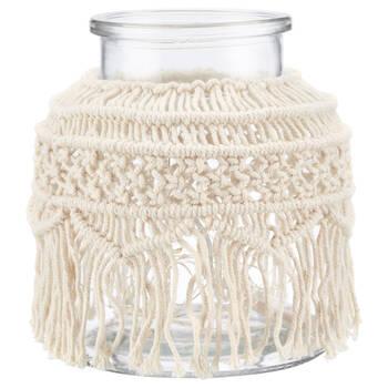 Pot en verre LED macramé Casbah