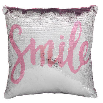 "Smile Sequined Decorative Pillow 18"" X 18"""