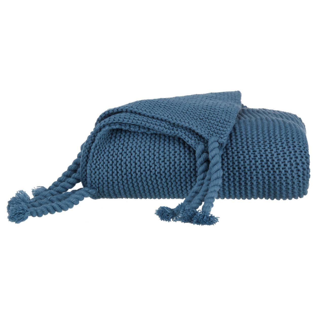 """Jeté bleu en tricot dense Eddie 40"""" X 50"""""""