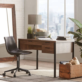 Veneer & Metal 3-Drawer Desk
