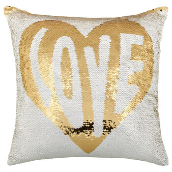 "Love Sequined Decorative Pillow 18"" X 18"""