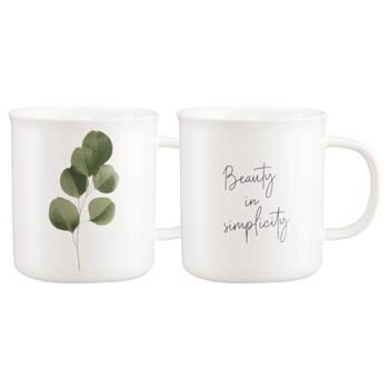 Set of 2 Mugs Ecalyptus and French Writing