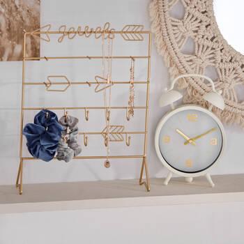Horloge de table en métal blanc et doré