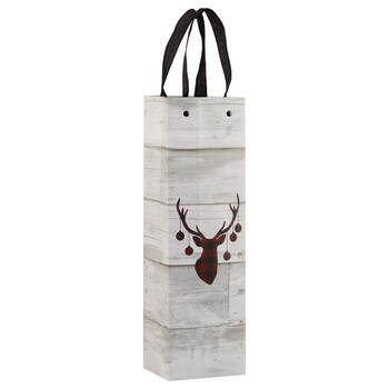 Buffalo Plaid Deer Wine Bag