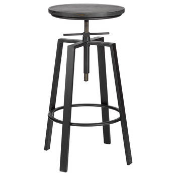Adjustable Solid Elm Wood and Gun Metal Bar Stool
