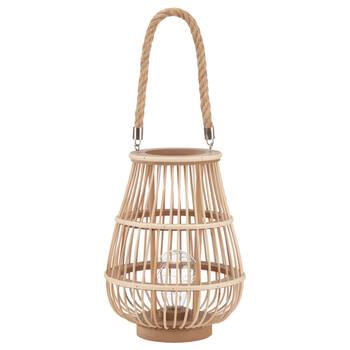 Lampe de table lanterne DEL en rotin