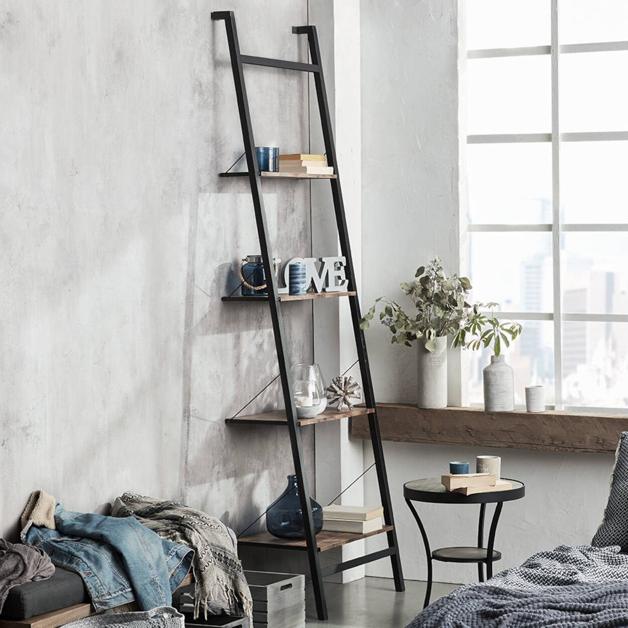 Four Tier Wall Ladder Shelf