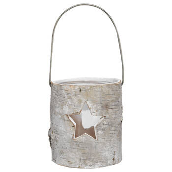 Wood Bark Lantern with Star Cutout