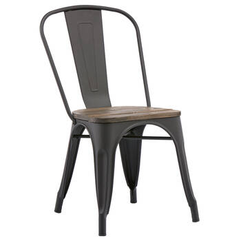 Solid Elm Wood and Metal Dining Chair