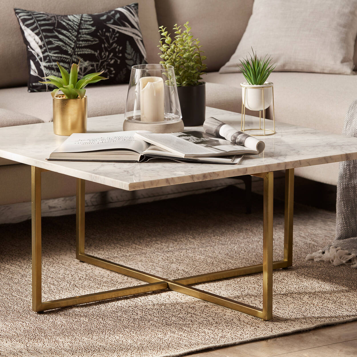 Marble and Metal Coffee Table