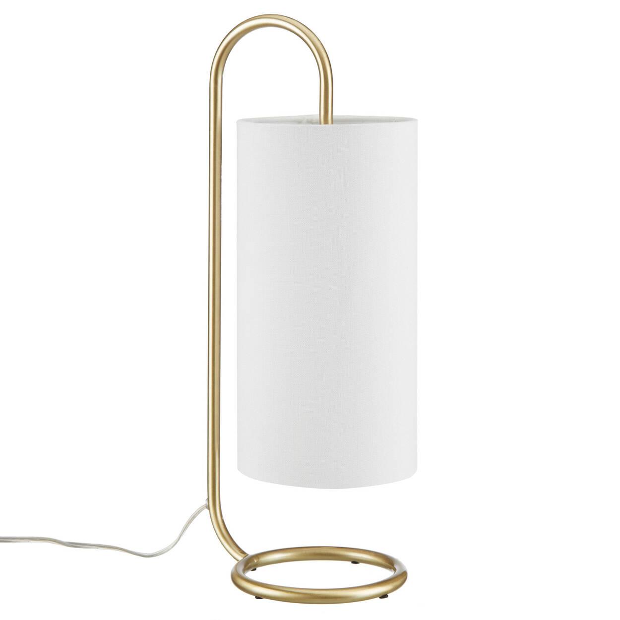 Lampe de table en métal doré et en tissu