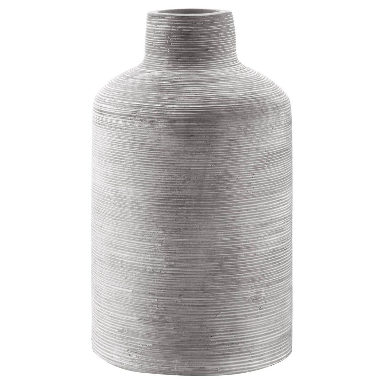 Vase de table en ciment semi-rayé
