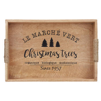 Christmas Trees Wood Tray