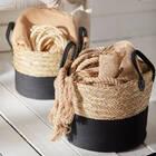 Panier en algues tissées et en corde de coton