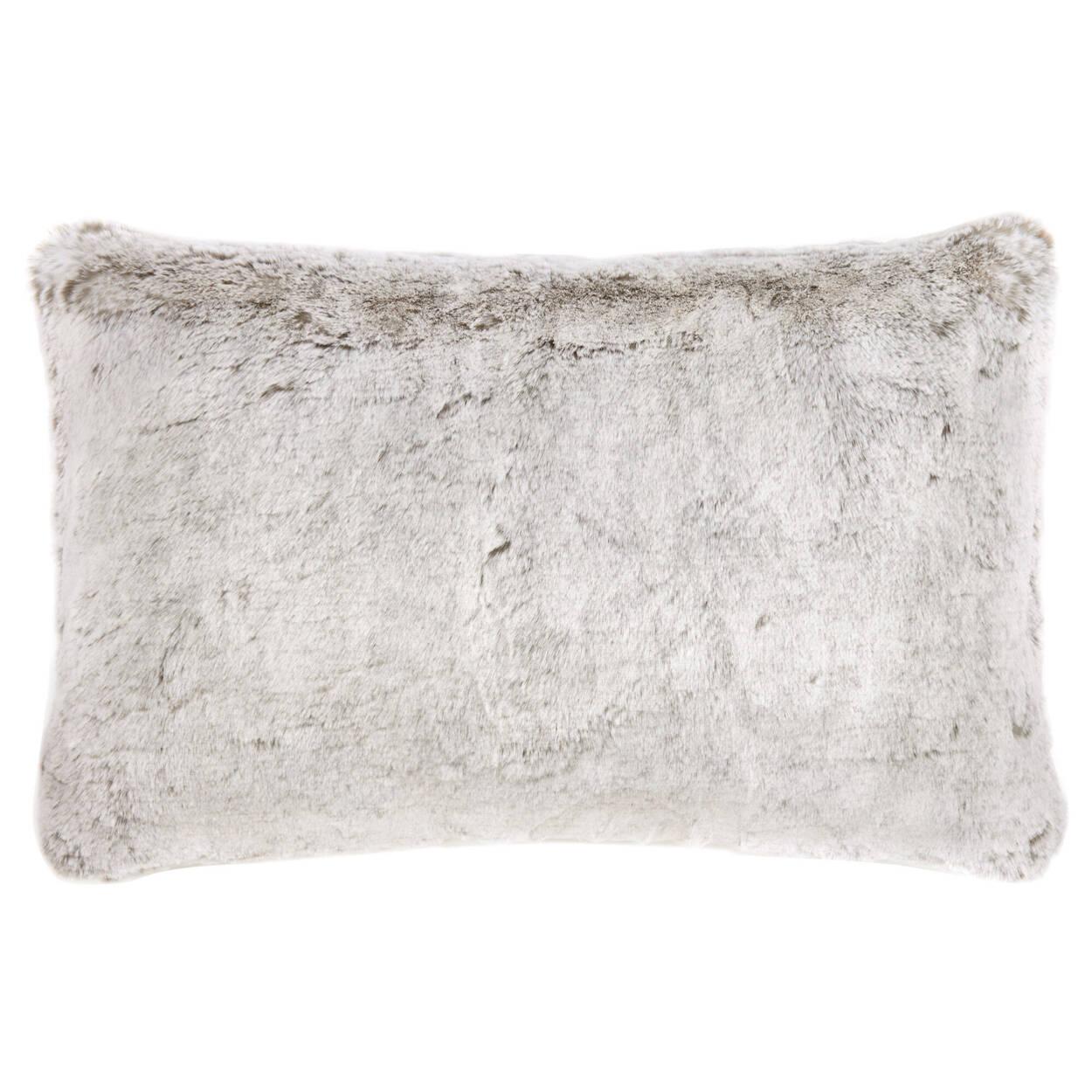 "Silver Fox Faux Fur Decorative Lumbar Pillow 14"" x 22"""