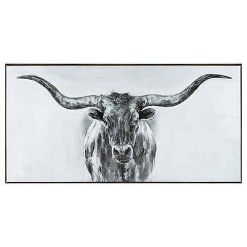 Bull Sketch Gel Embellished Framed Art