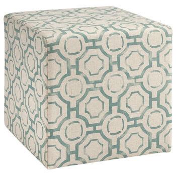Patterned Fabric Ottoman