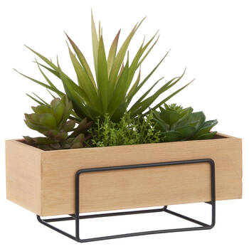 Natural Wood Rectangular Pot with Mix Plants
