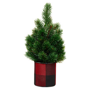 Decorative Mini Tree with Plaid Pot