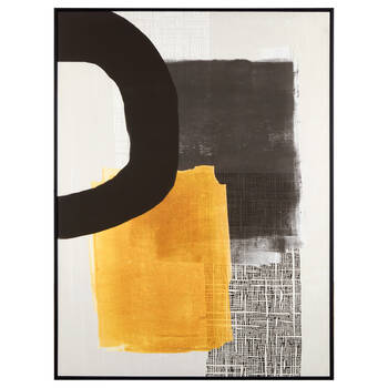 Abstract Black and Yellow Framed Canvas