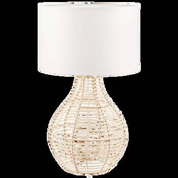 Lampe de table en rotin et en tissu