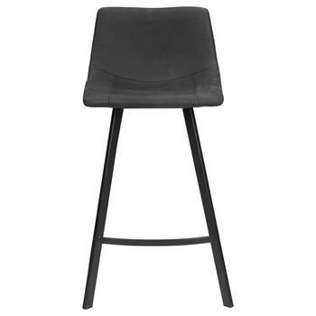 Textured Faux Leather and Metal Bar Stool