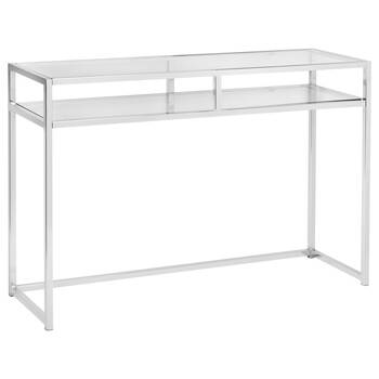 2-Shelf Tempered Glass and Chrome Console Table