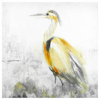 Sand Textured Heron Canvas with Oil Embellishment