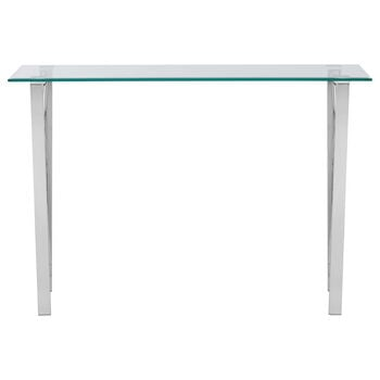 Glass-top Console Table with Stainless Steel Legs