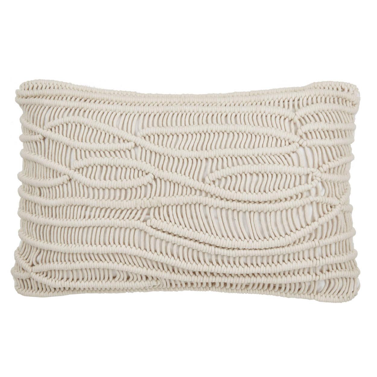 """Maugaux Macramé Decorative Lumbar Pillow 14"""" X 22''"""