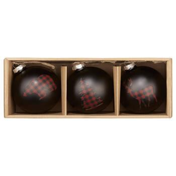 Set of 3 Buffalo Plaid Ornaments