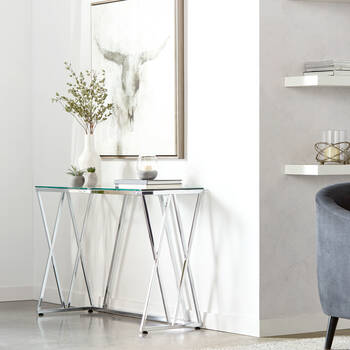 Chrome Metal and Glass Console Table