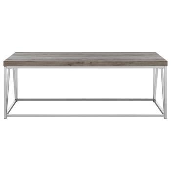 Veneer Wood and Chrome Coffee Table