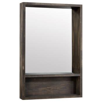 Miroir en bois avec étagère