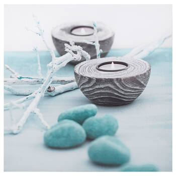 Candles & Rocks Printed Canvas
